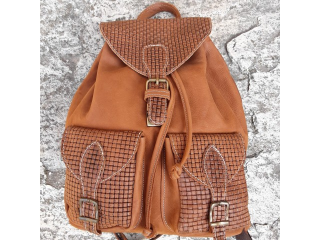 Women's backpack with knitted design